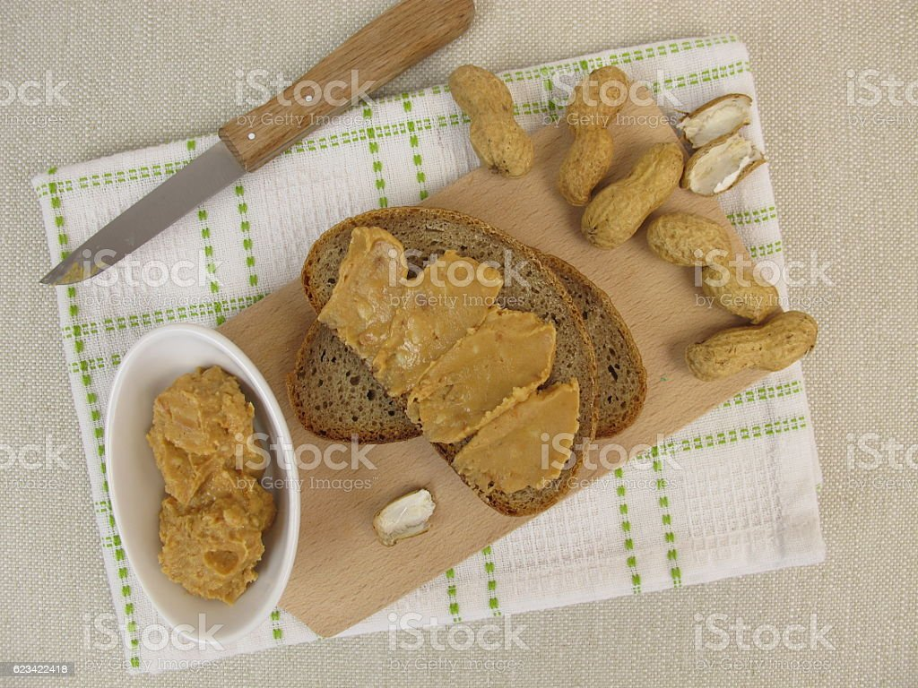 Bread with peanut butter stock photo