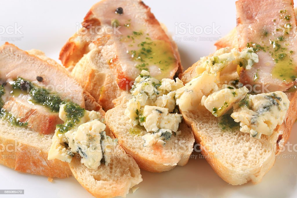 bread with pork and blue cheese stock photo