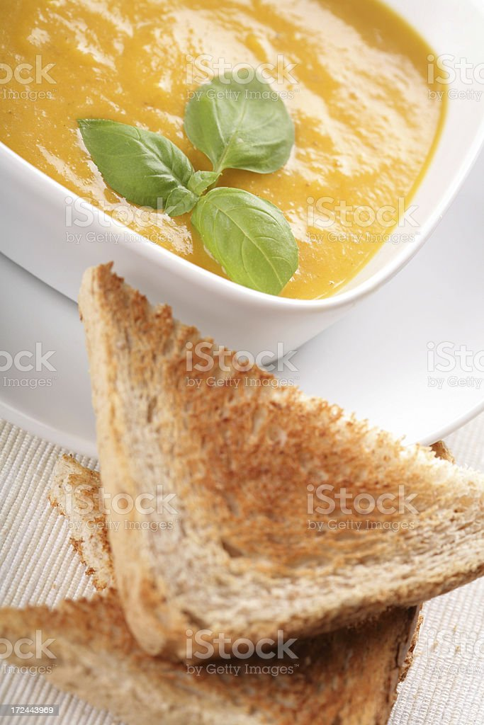 bread with pumpkin soup royalty-free stock photo