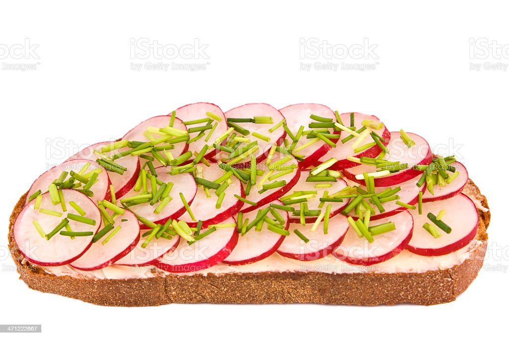 Bread with radish and chives stock photo