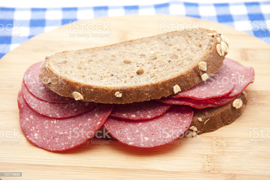 Bread with salamis stock photo