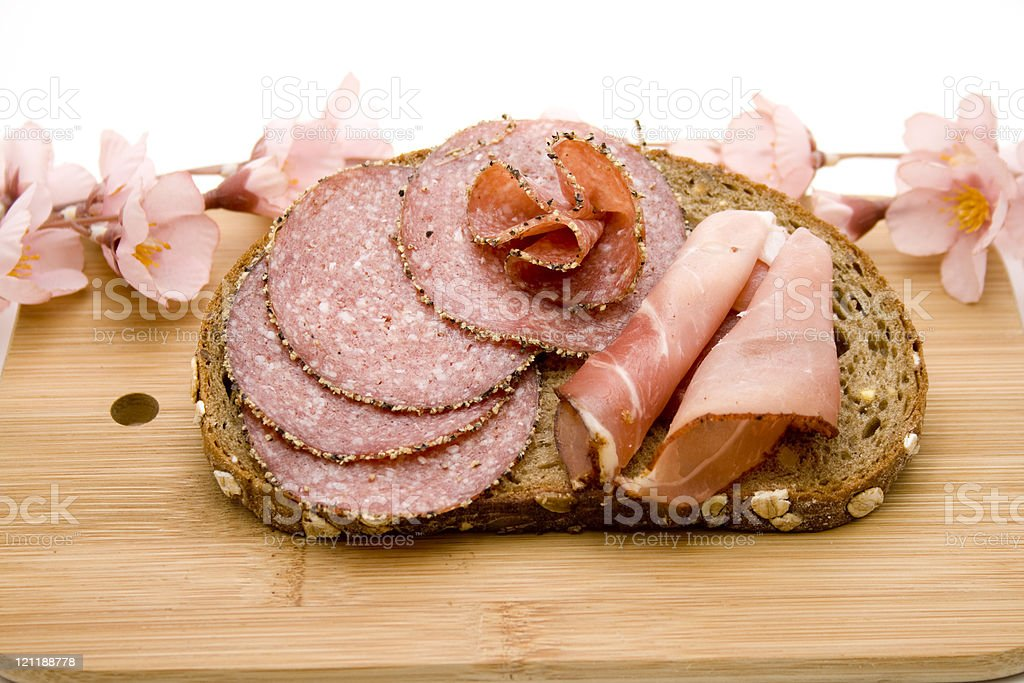 Bread with sausage stock photo