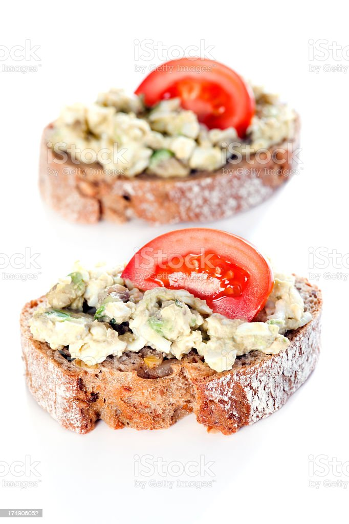 Bread with spread on plate royalty-free stock photo