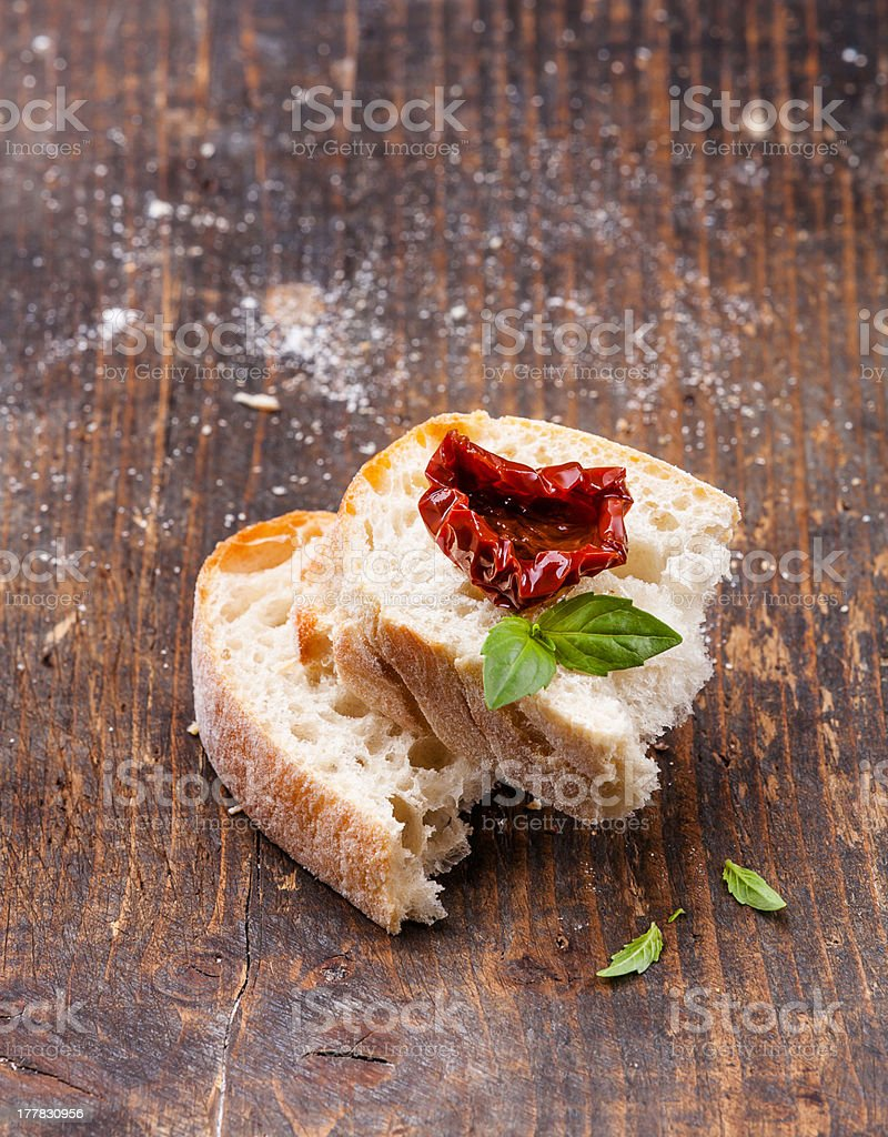 Bread with Sun dried tomatoes royalty-free stock photo