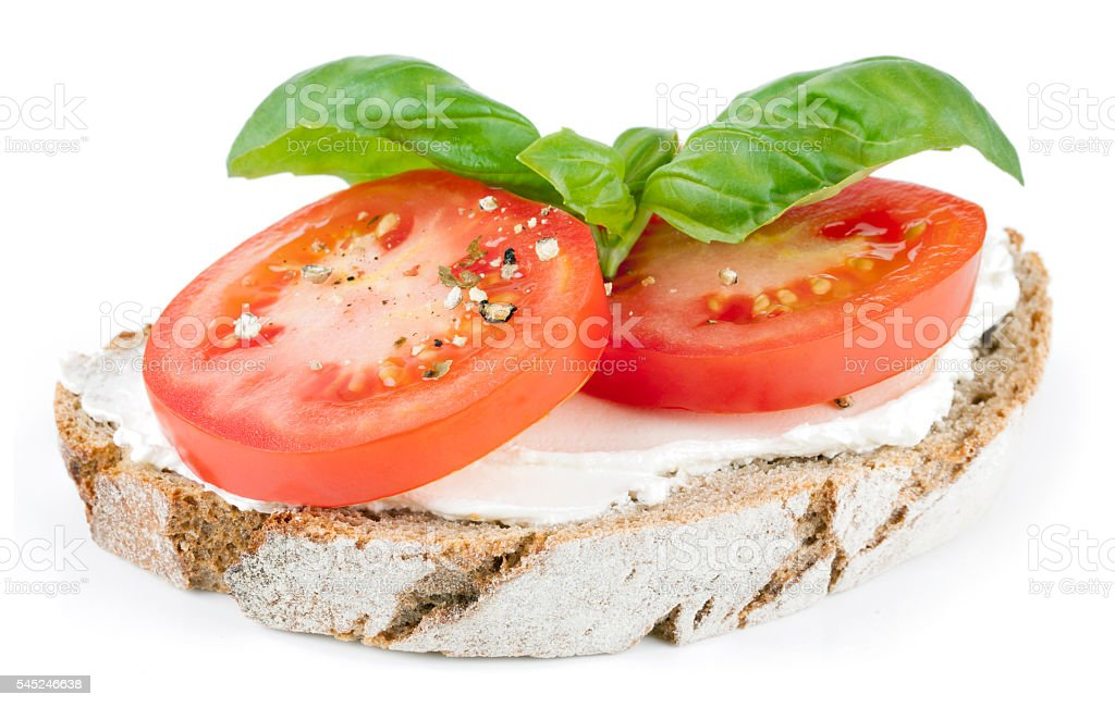 bread with tomato and cream cheese stock photo