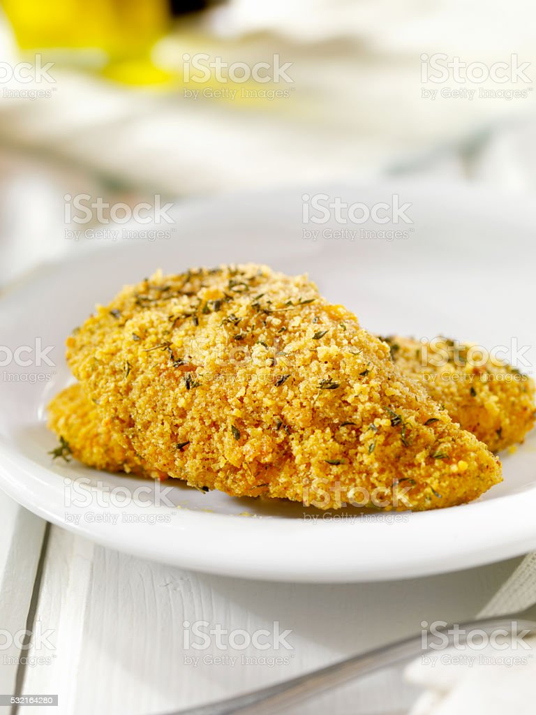 Breaded and Baked Fish Fillets stock photo