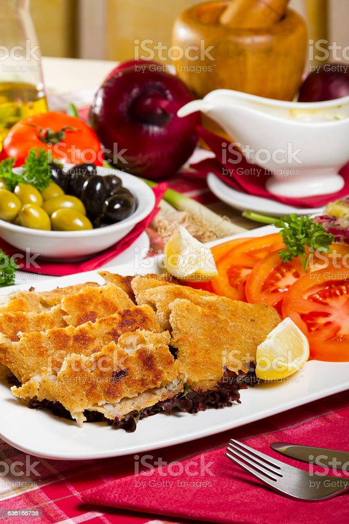 Breaded and Deep Fried Hake Fillets stock photo