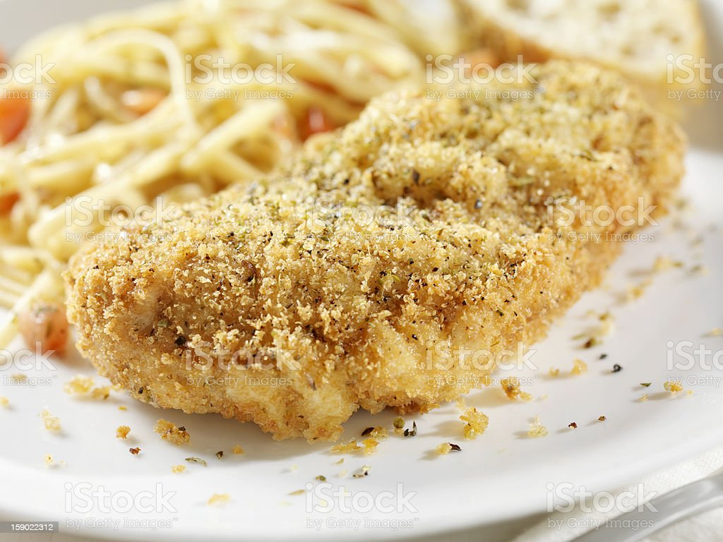 Breaded Chicken Breast with Linguine stock photo