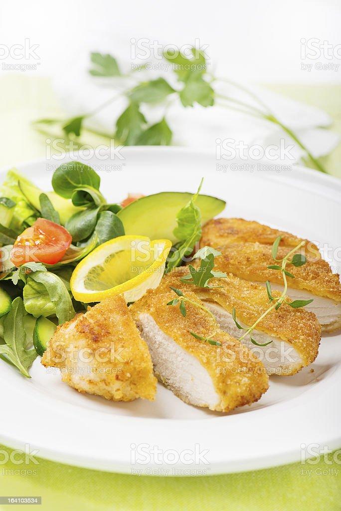 Filé de frango empanado foto royalty-free