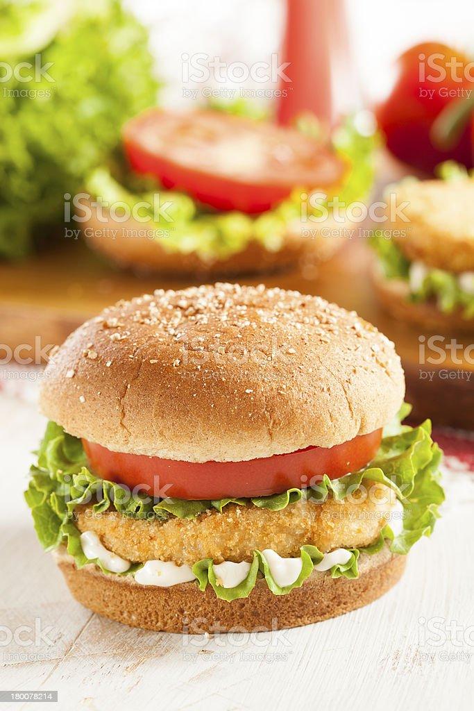 Breaded Chicken Patty Sandwich on a Bun royalty-free stock photo