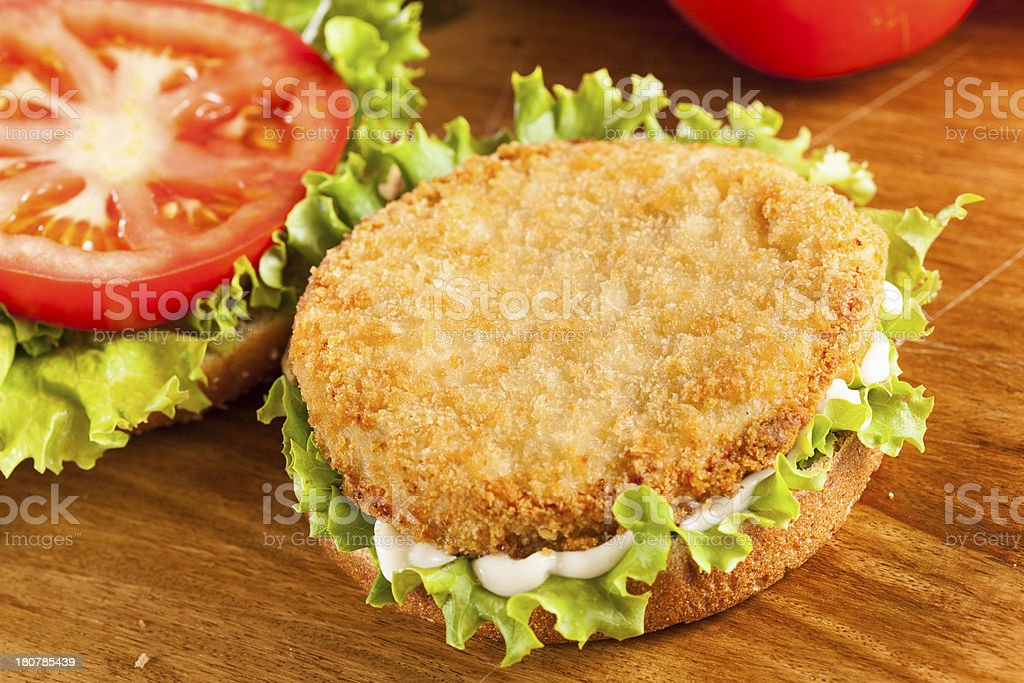 Breaded Chicken Patty Sandwich on a Bun royalty-free stock photo