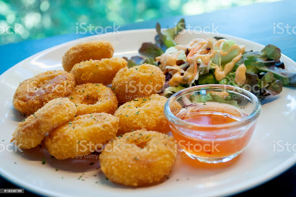 Breaded chicken with salad stock photo