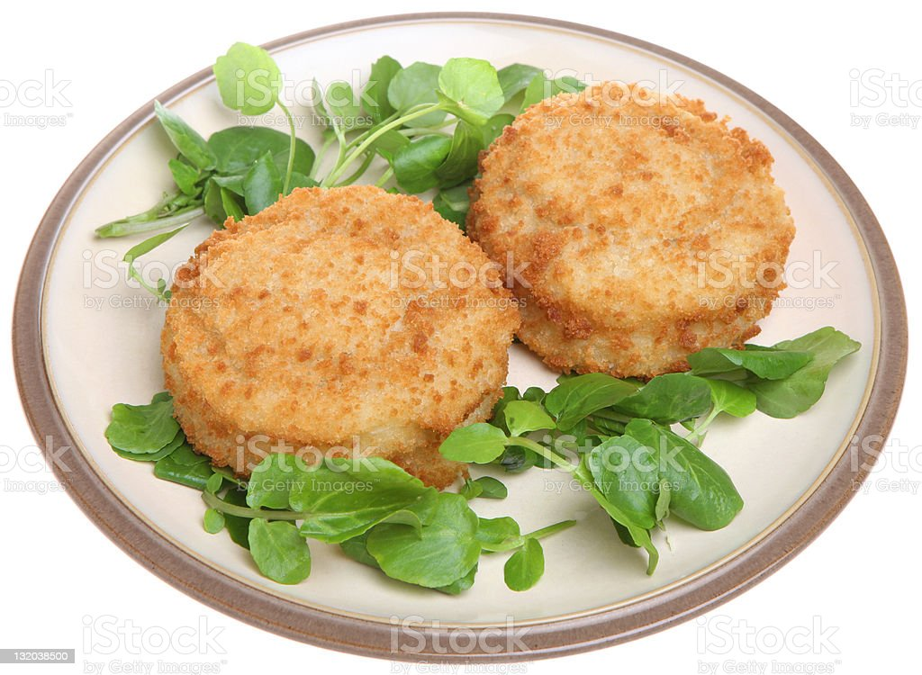 Breaded Cod Fishcakes royalty-free stock photo