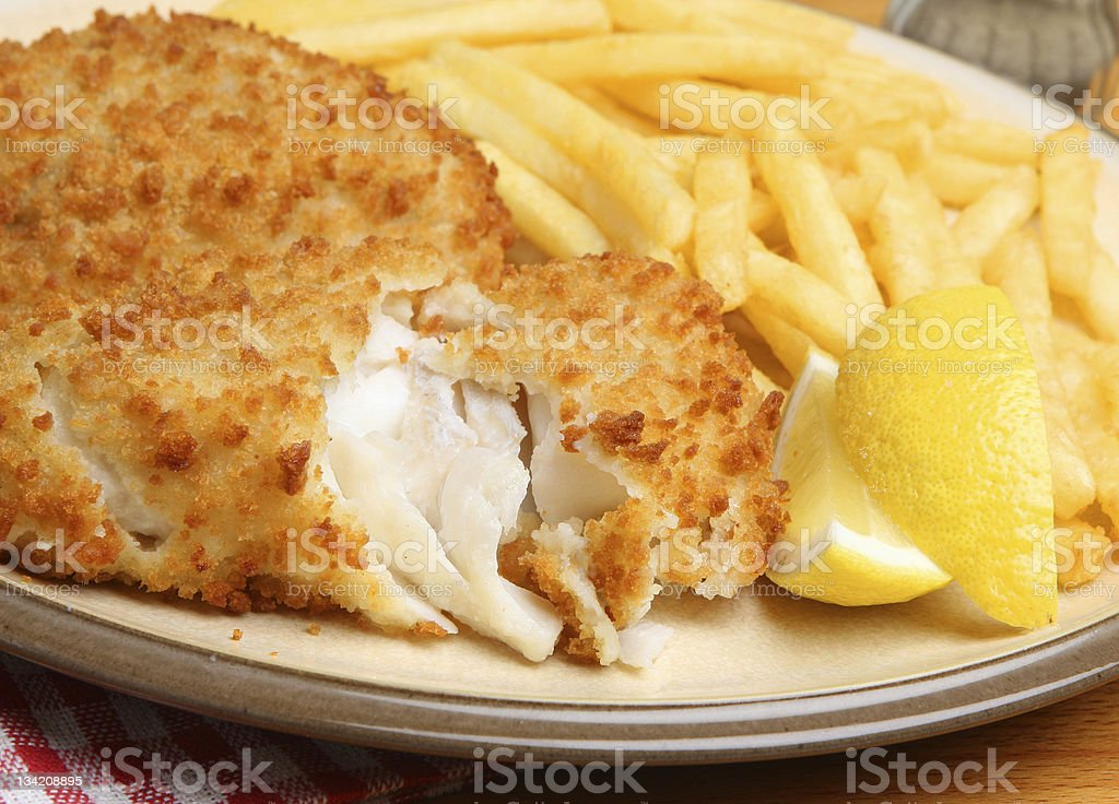 Breaded Fish Fillet & Fries stock photo
