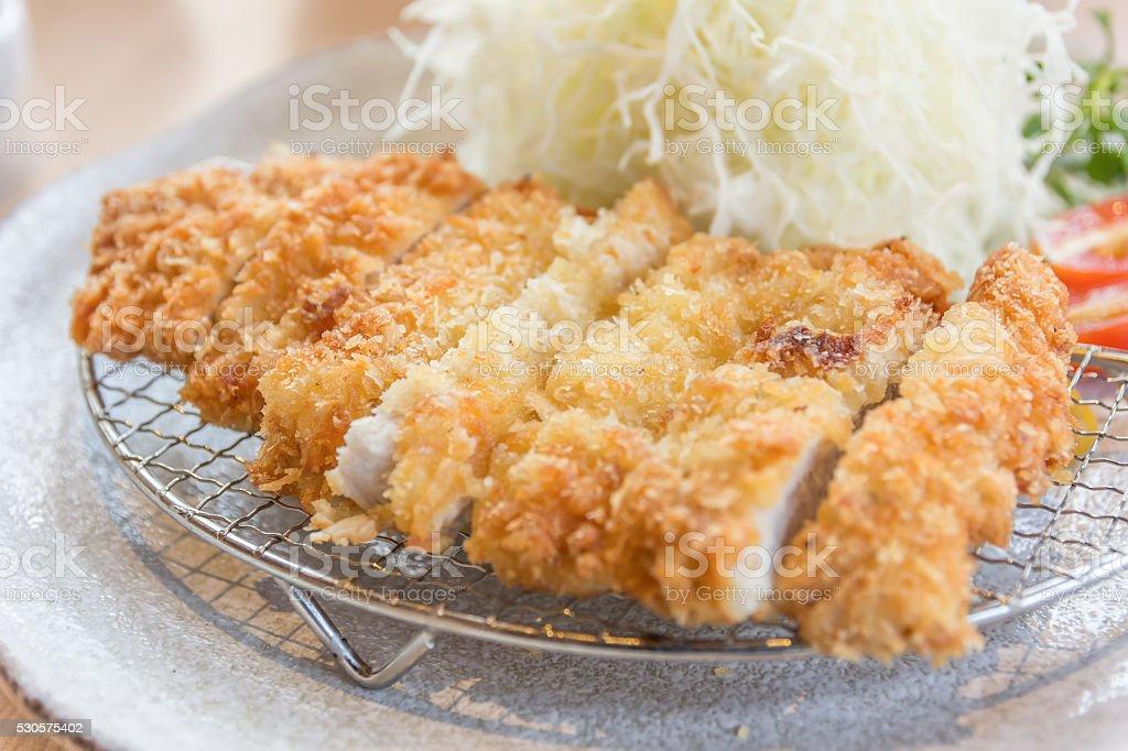 breaded pork cutlet, japanese food style tonkatsu stock photo