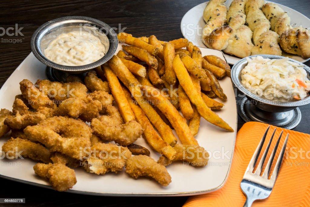 Breaded Shrimp Clams Dinner stock photo