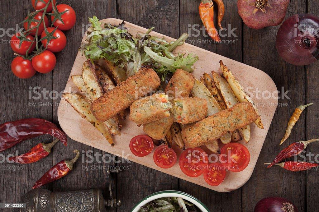 Breaded veggie sticks stock photo
