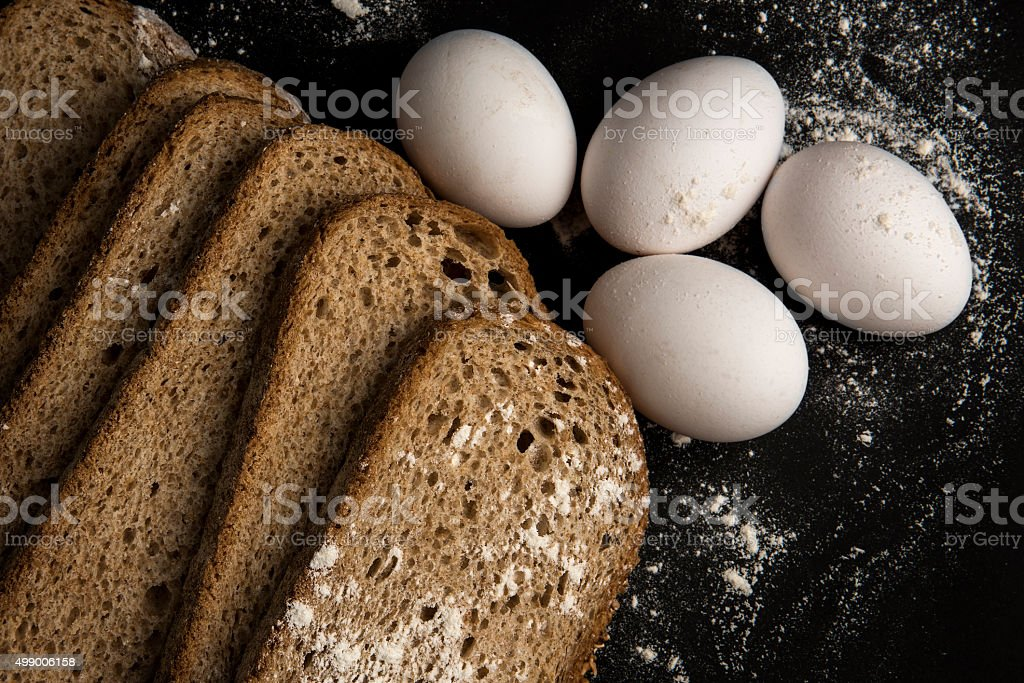 Breads and Eggs stock photo