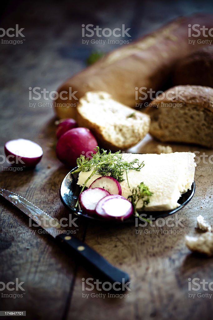 Breads and feta cheese royalty-free stock photo