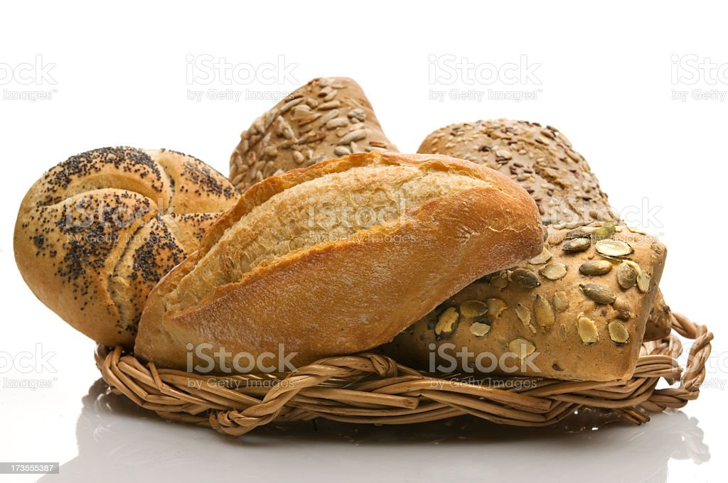 Breads on a basket royalty-free stock photo