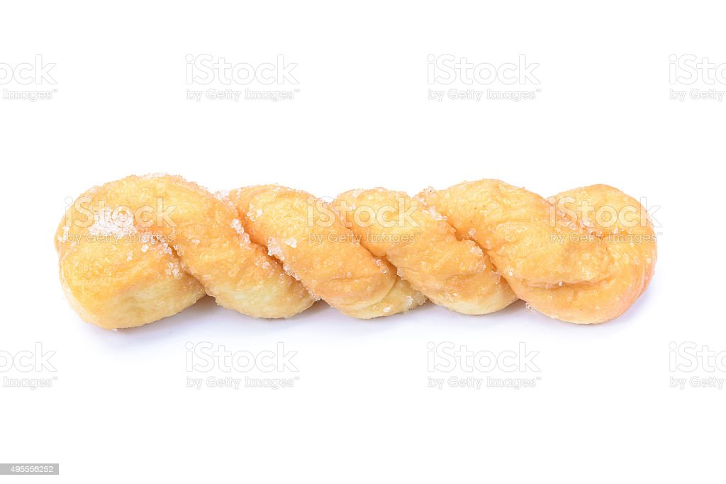 breads twists donut, isolated on white background stock photo