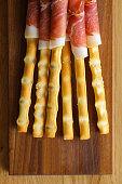 Breadsticks with prosciutto.
