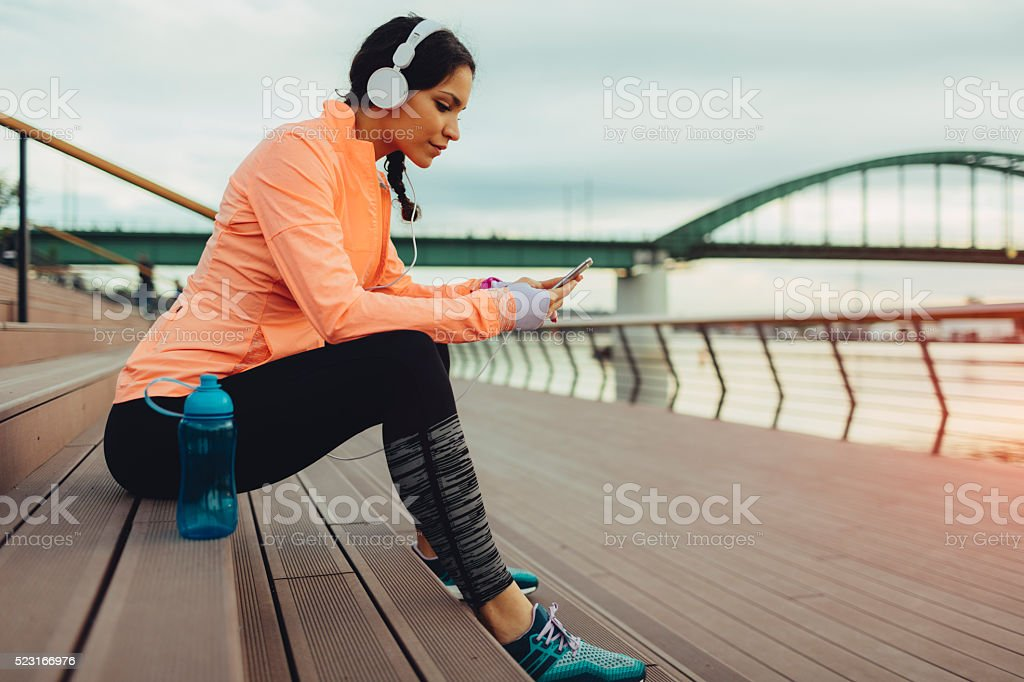Break after jogging. stock photo