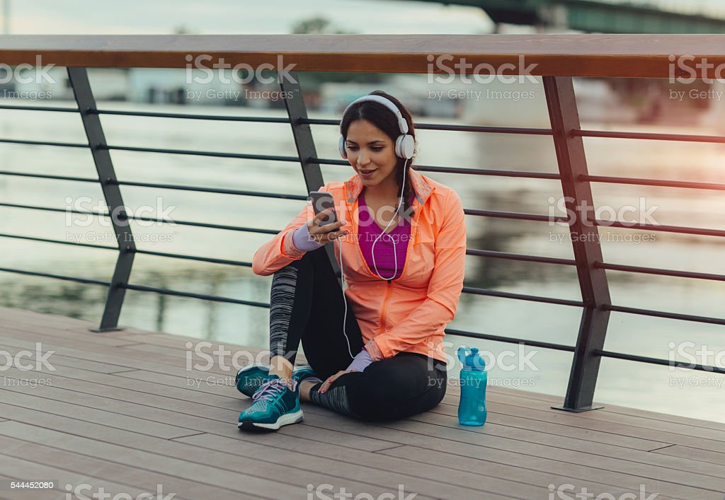 Break after jogging. stock photo