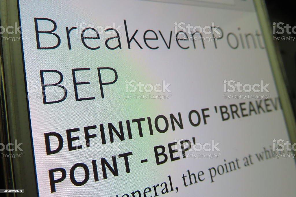 break even point definition stock photo