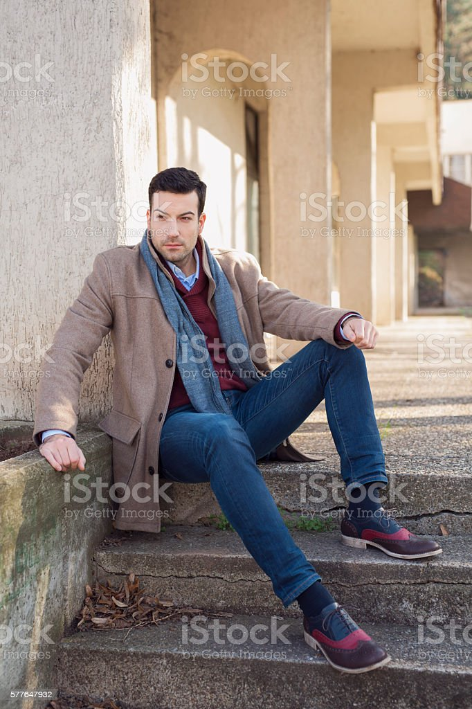 Break for a stylish guy stock photo