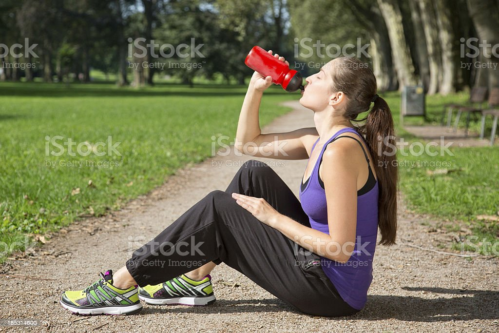 Break for drinking after sports royalty-free stock photo