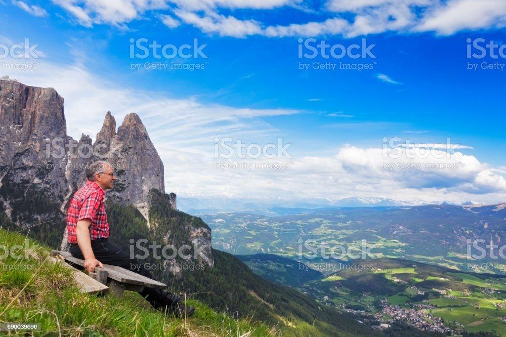 Break in the alps, Alpe di Siusi at Mount Schlern - European Alps stock photo