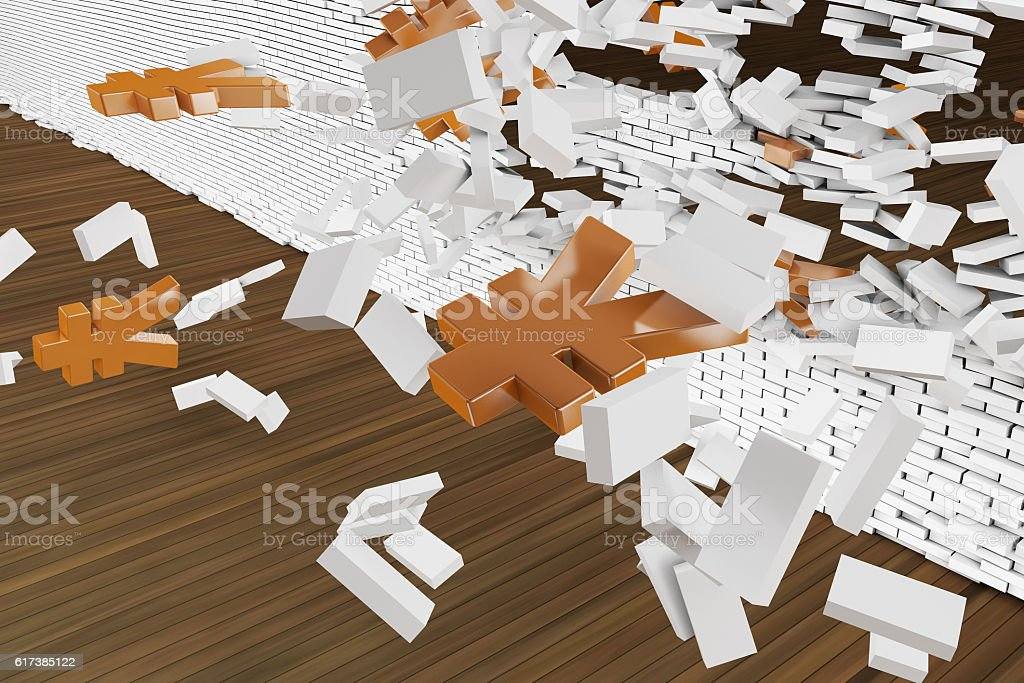 Break through the walls of the currency symbol stock photo