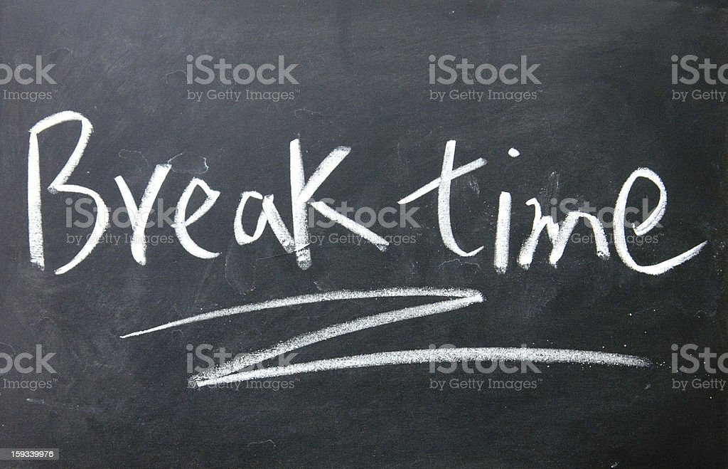 break time sign written with chalk on blackboard stock photo