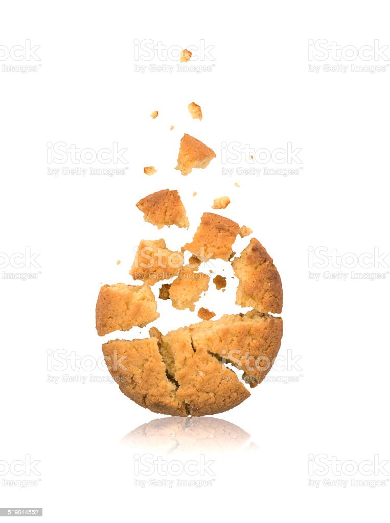 Break up cookies with chocolate pieces stock photo