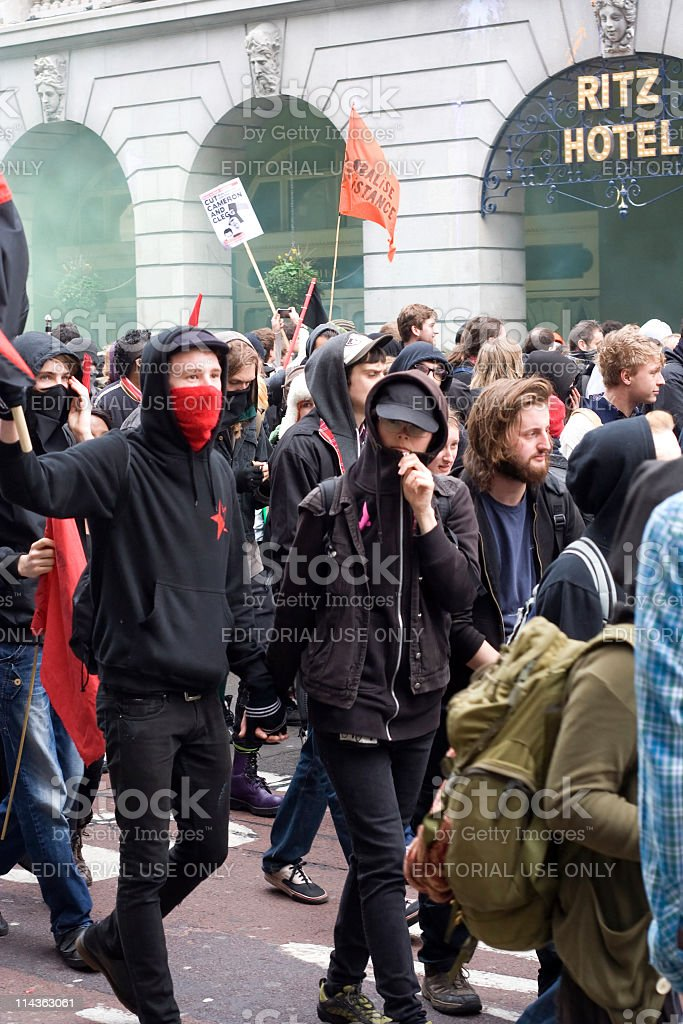 Breakaway protestors march along Piccadilly in London royalty-free stock photo