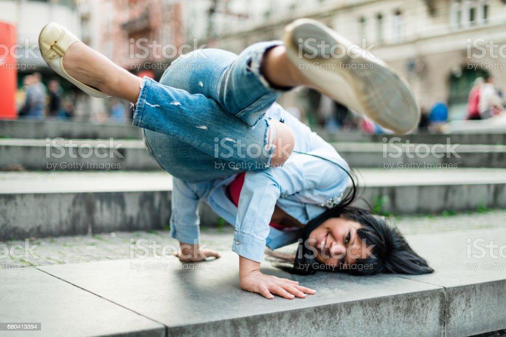 breakdancer in the street stock photo