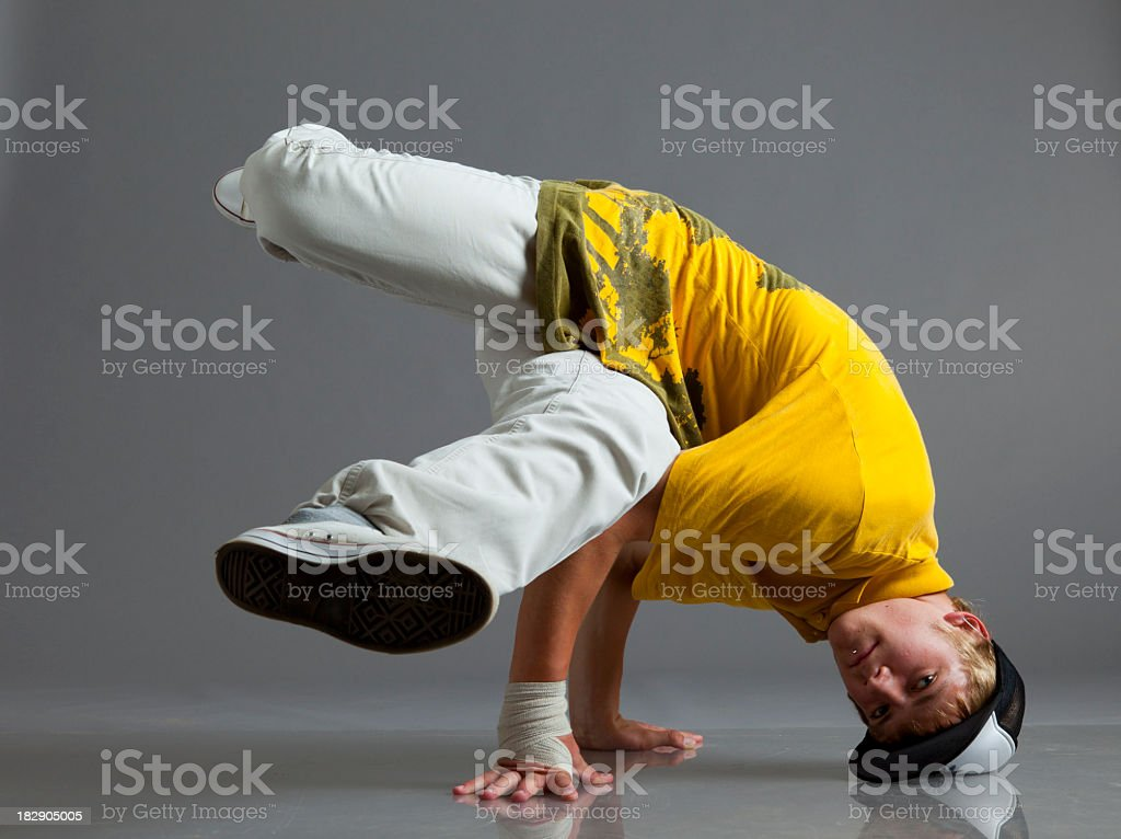 Breakdancer stand on arms royalty-free stock photo