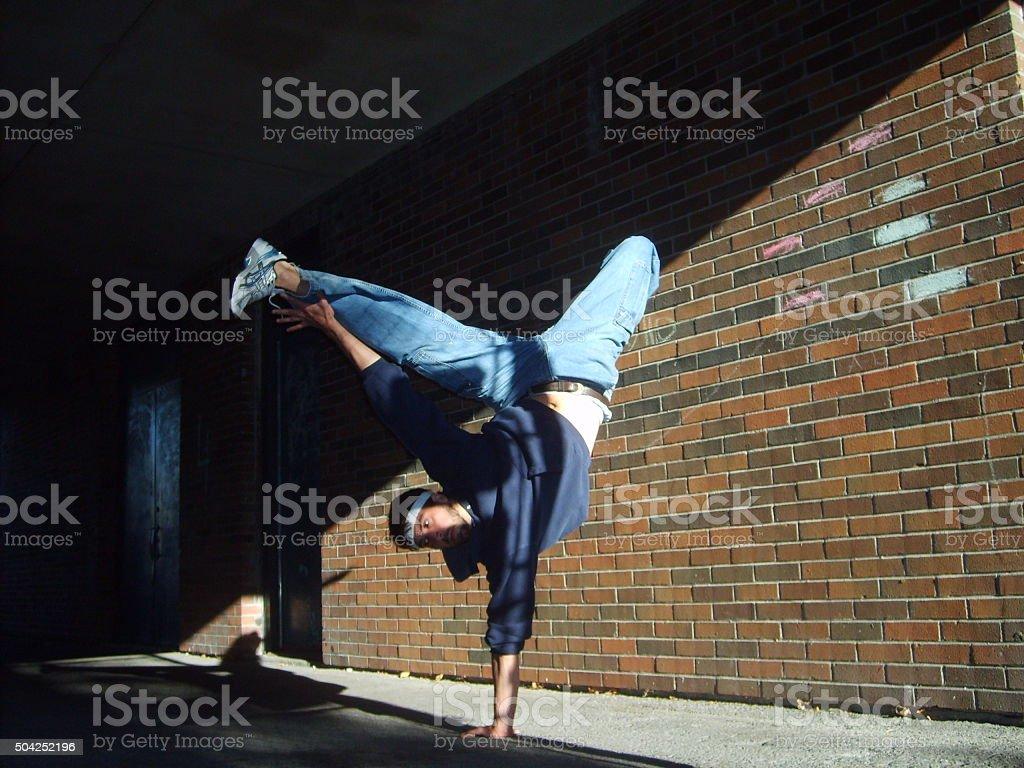 Breakdancer street dance hip hop bboy rap ill breaker elements stock photo