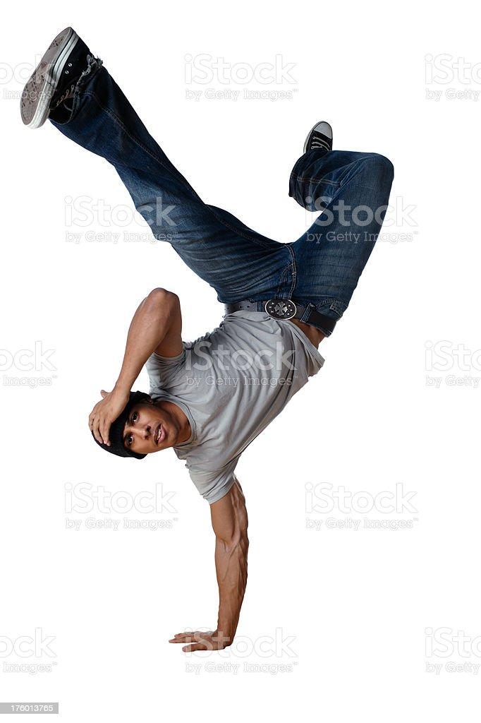 Breakdancing hand stand stock photo