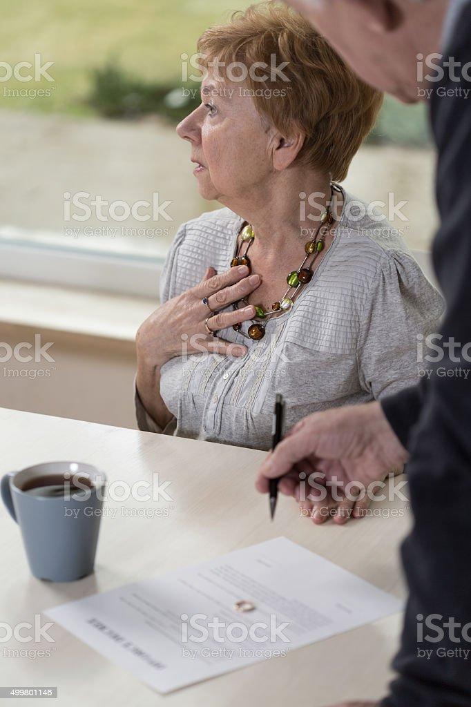 Breakdown of senior woman stock photo