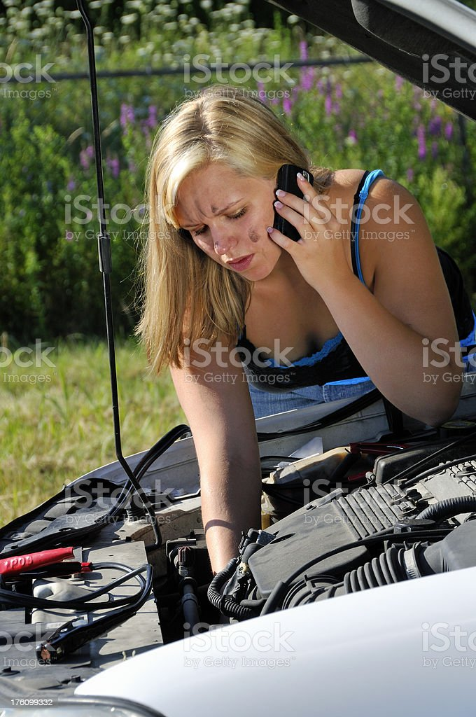 Breakdown Victim Gets Help by Cell Phone royalty-free stock photo