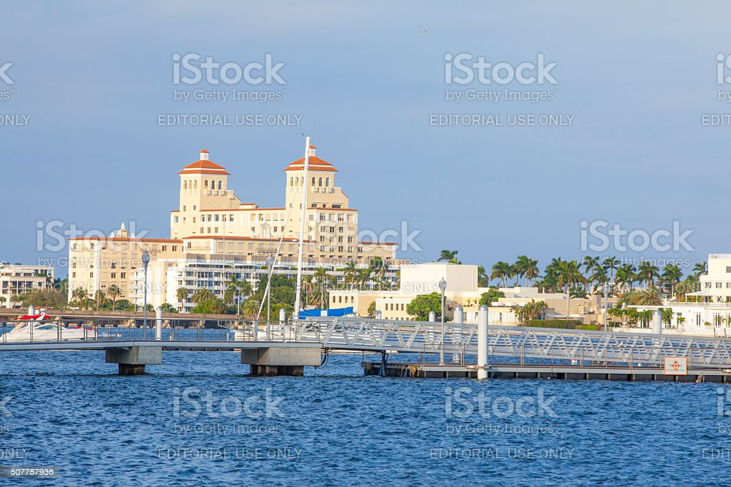 Breakers Hotel in Palm Beach viewed from walkway along intracoastal stock photo