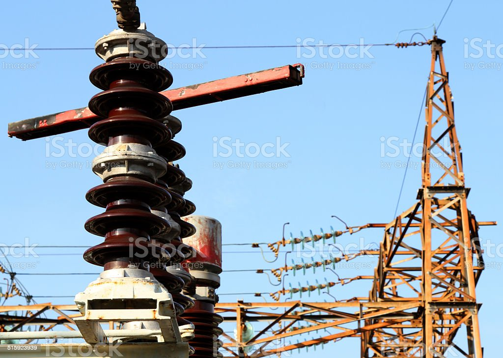 breakers  in a power plant with high voltage cables stock photo