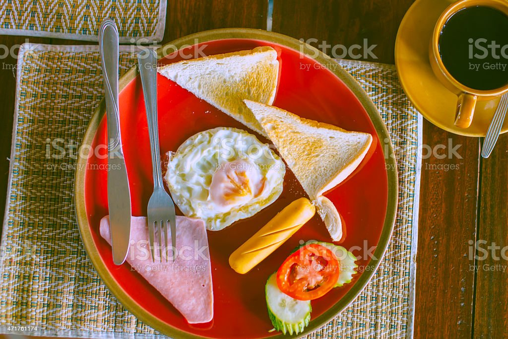 Breakfast and Balck coffee on table royalty-free stock photo