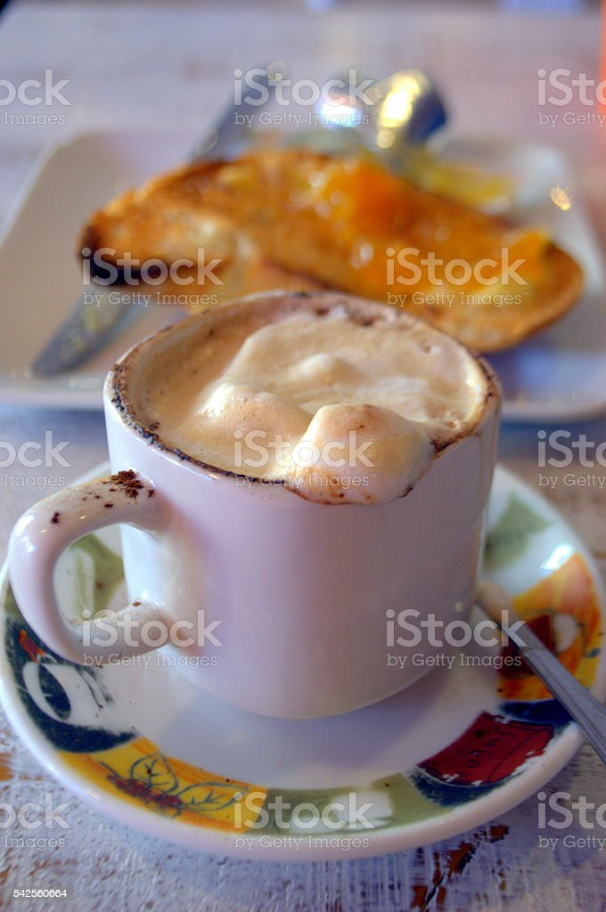 Breakfast and Cappuccino stock photo