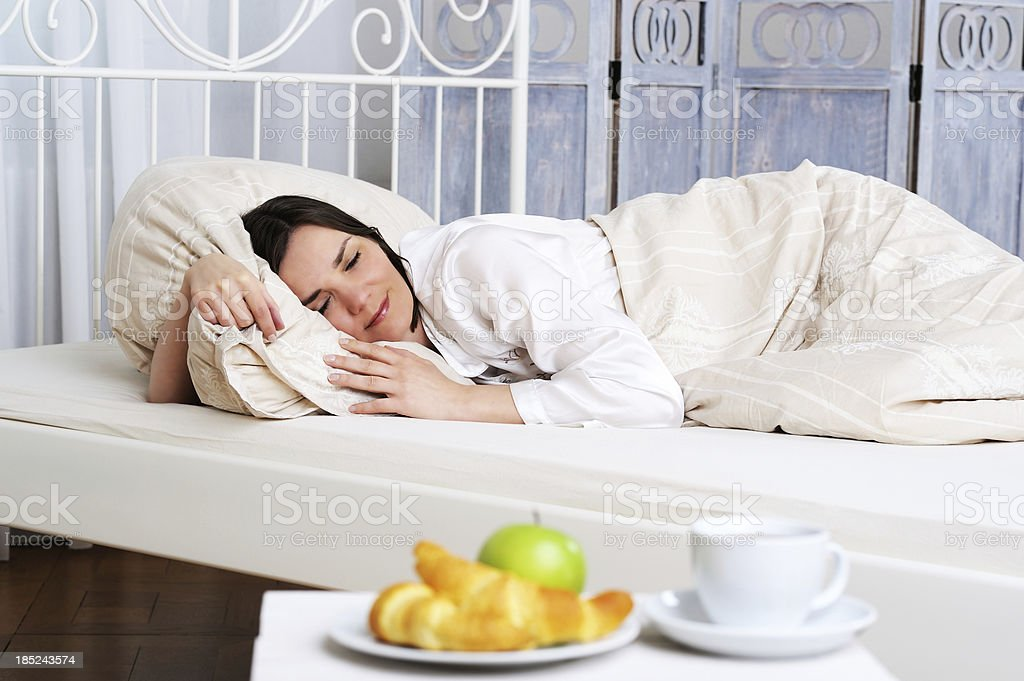 Breakfast and Coffee Morning Sleeping Woman Bed stock photo