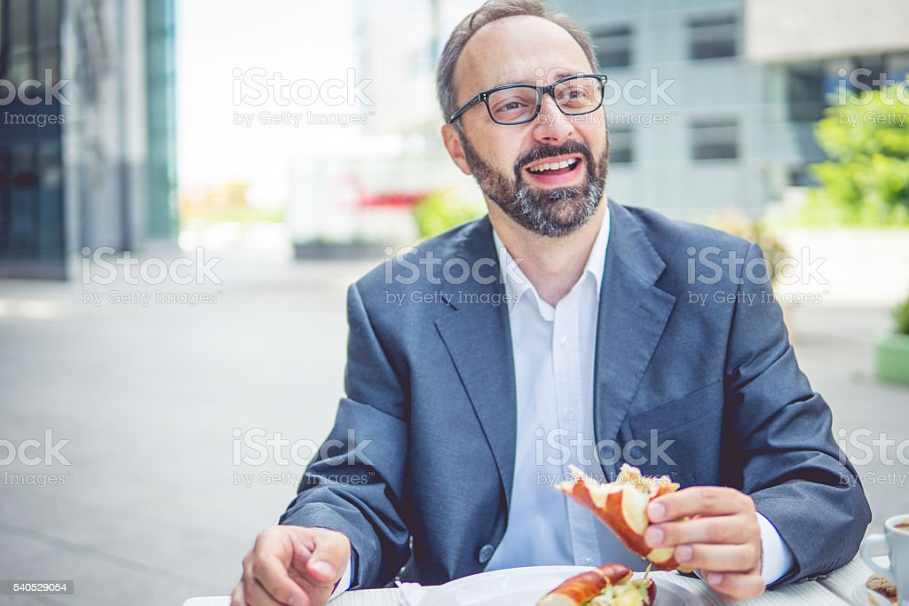 Breakfast and work stock photo