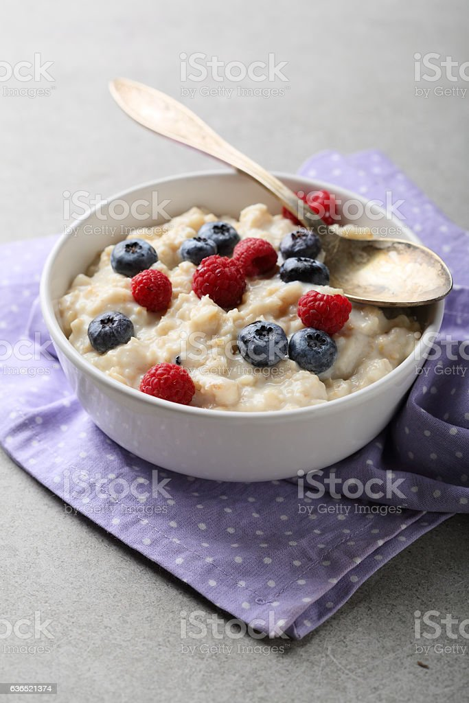breakfast aot flakes in bowl stock photo