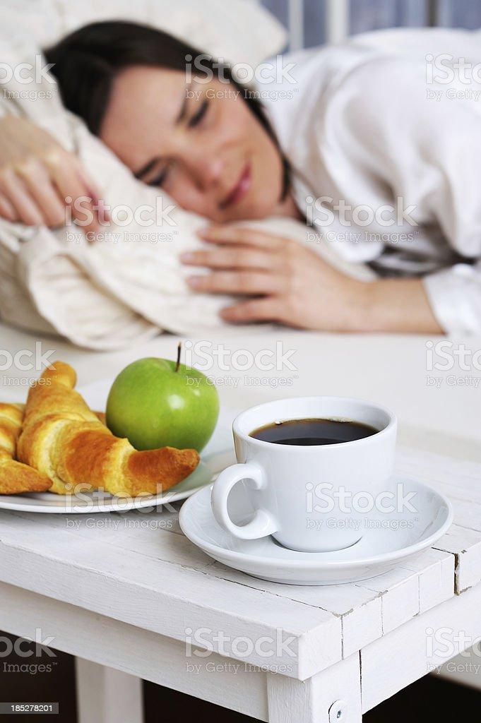 Breakfast at Bed Sleeping Brunette  Woman stock photo